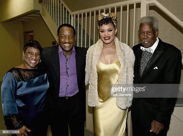 Karla ReddingAndrews Donnie Simpson Andra Day and Eddie Floyd backstage during Otis Redding 75th Birthday Celebration at the Macon City Auditorium on...
