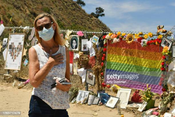 Karla Schlevo honors actress Naya Rivera at a memorial at Lake Piru where Rivera's death was ruled an accidental drowning on August 3 2020 in Piru...