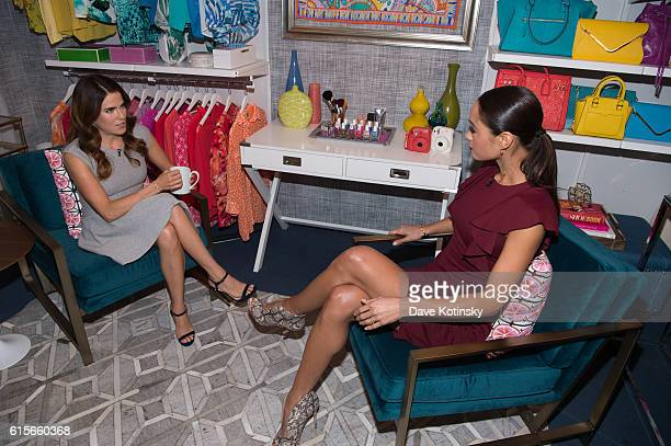 Karla Souza films an episode of Amazon's live stream fashion and beauty show 'Style Code Live' on October 19 2016 in New York City The Episode will...