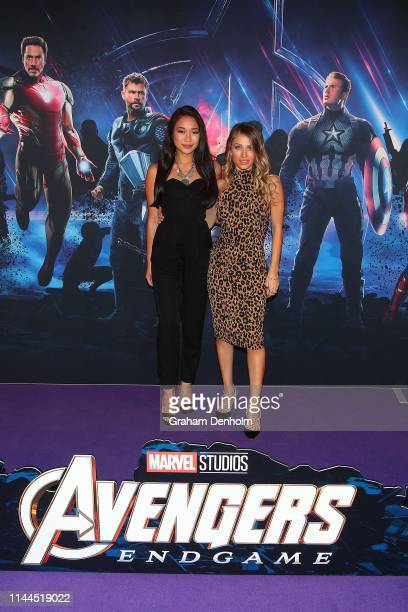 Karla Tonkich and friend pose ahead of the special screening of Marvel Studios' Avengers Endgame at IMAX Melbourne Museum on April 23 2019 in...