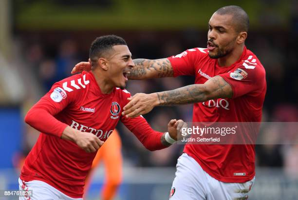 Karlan AhearneGrant of Charlton Athletic celebrates after scoring his sides first goal with Josh Magennis of Charlton Athletic during the The...