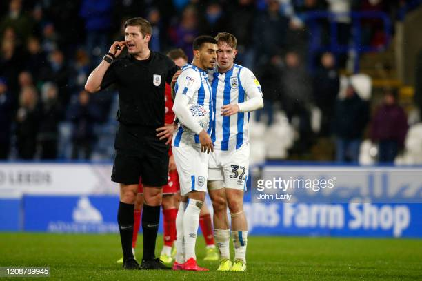 Karlan Grant and Emile Smith Rowe of Huddersfield Town during the Sky Bet Championship match between Huddersfield Town and Bristol City at John...