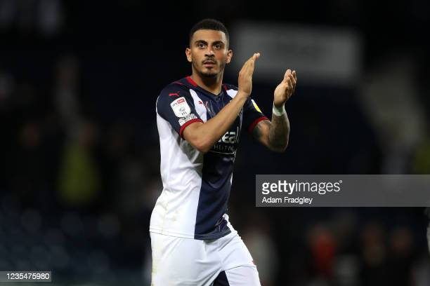 Karlan Grant of West Bromwich Albion applauds the West Bromwich Albion Fans at the end of the match after the 2-1 win in the Sky Bet Championship...