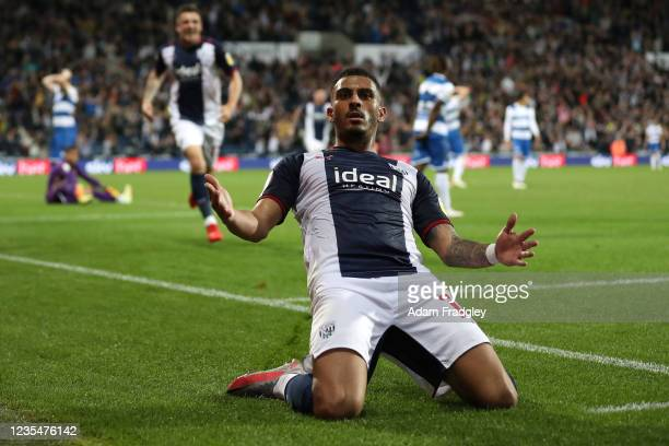 Karlan Grant of West Bromwich Albion celebrates after scoring a goal to make it 2-1 during the Sky Bet Championship match between West Bromwich...