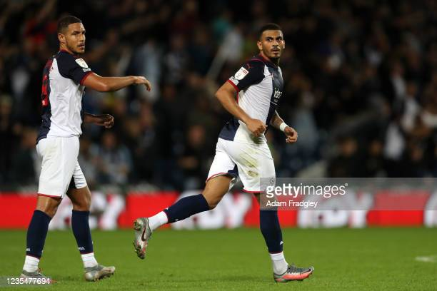 Karlan Grant of West Bromwich Albion celebrates after scoring a goal to make it 1-1 during the Sky Bet Championship match between West Bromwich...