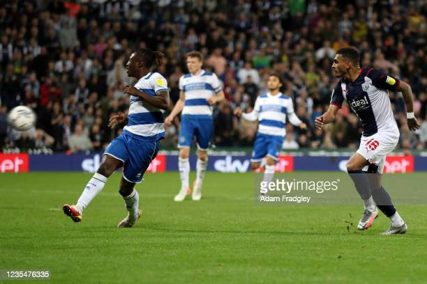 Karlan Grant of West Bromwich Albion scores a goal to make it 2-1 during the Sky Bet Championship match between West Bromwich Albion and Queens Park...