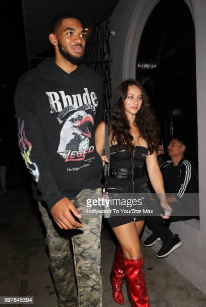 KarlAnthony Town and Kawahine Andrade are seen on July 12 2018 in Los Angeles California