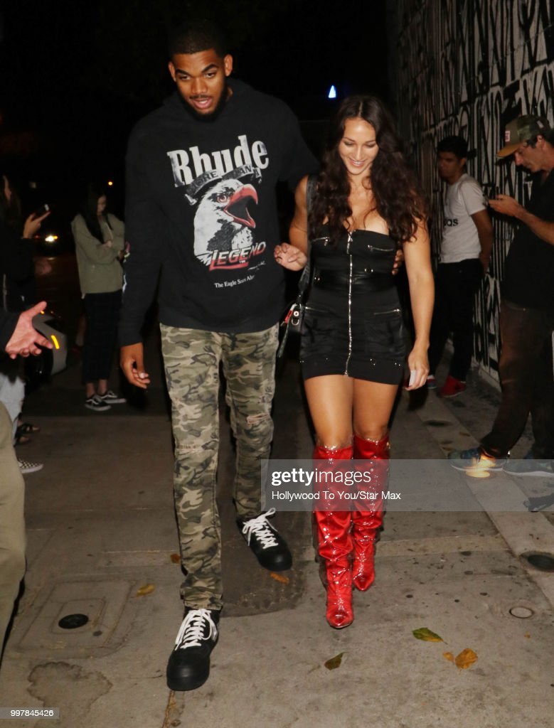 Karl-Anthony Town and Kawahine Andrade are seen on July 12, 2018 in Los Angeles, California.