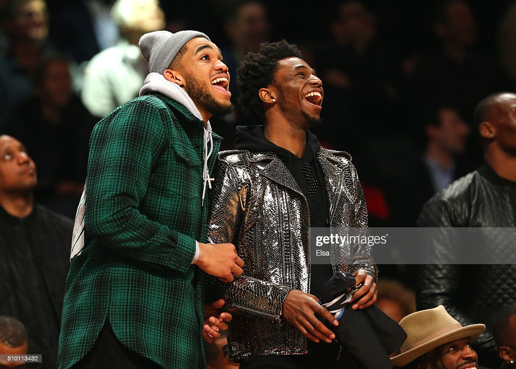 Karl-Anthony Towns and Andrew Wiggins of the Minnesota Timberwolves look on in the Verizon Slam Dunk Contest during NBA All-Star Weekend 2016 at Air Canada Centre on February 13, 2016 in Toronto, Canada.