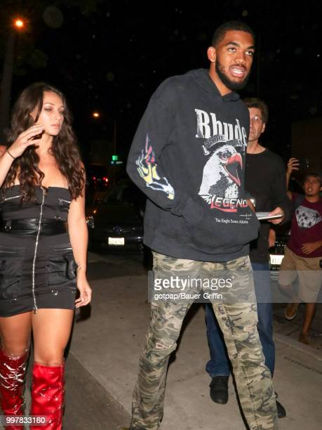 KarlAnthony Towns and Kawahine Andrade are seen on July 12 2018 in Los Angeles California