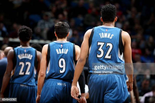 KarlAnthony Towns and Ricky Rubio of the Minnesota Timberwolves look on during the game against the Chicago Bulls on February 12 2017 at Target...