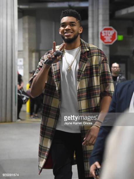 KarlAnthony Towns arrives to the NBA AllStar Game 2018 at Staples Center on February 18 2018 in Los Angeles California