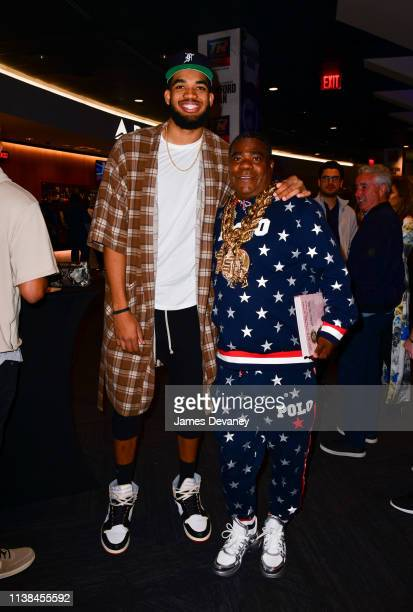 KarlAnthony Towns Jr and Tracy Morgan attend Top Rank VIP party prior to the WBO welterweight title fight between Terence Crawford and Amir Khan at...