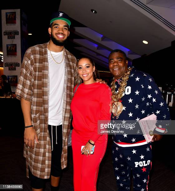 KarlAnthony Towns Jr Megan Wollover and Tracy Morgan attend Top Rank VIP party prior to the WBO welterweight title fight between Terence Crawford and...