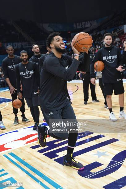 KarlAnthony Towns of Team LeBron shoots a half court shot during the 2019 NBA AllStar Practice and Media Availability on February 16 2019 at...