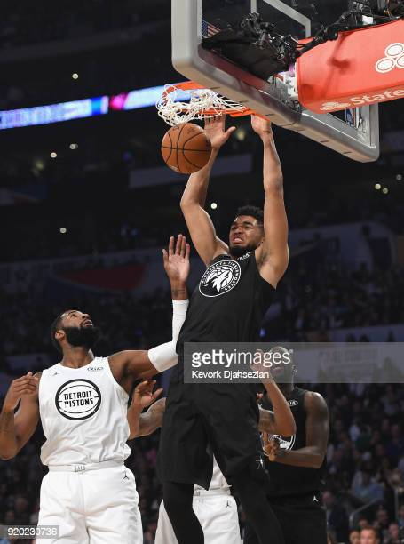 KarlAnthony Towns of Team Stephen dunks during the NBA AllStar Game 2018 at Staples Center on February 18 2018 in Los Angeles California