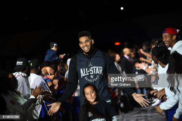 KarlAnthony Towns of team Stephen is introduced during the 2018 NBA All Star Practice as part of 2018 AllStar Weekend at Verizon Up Arena at LACC on...