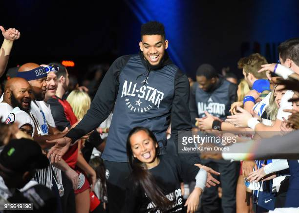 KarlAnthony Towns of Team Stephen is introduced for practice at the Verizon Up Arena at LACC on February 17 2018 in Los Angeles California NOTE TO...