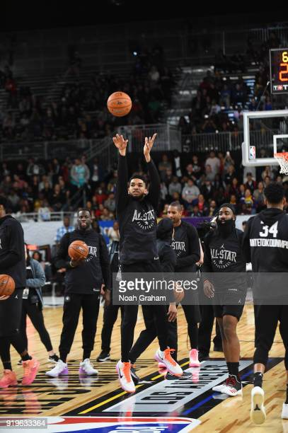 KarlAnthony Towns of team Stephen shoots a half court shot during the 2018 NBA All Star Practice as part of 2018 AllStar Weekend at Verizon Up Arena...