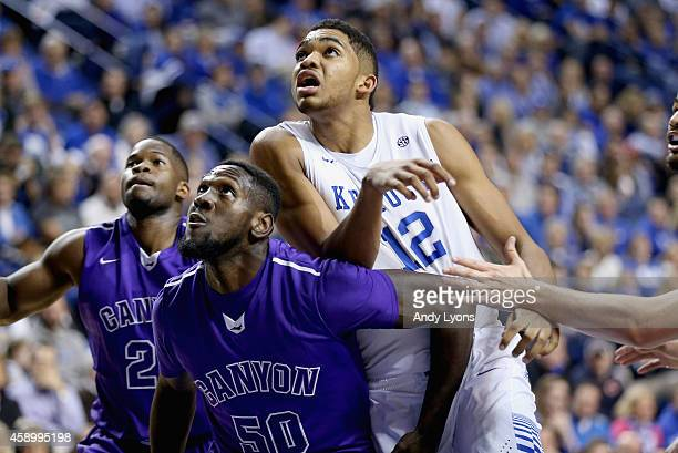 KarlAnthony Towns of the Kentucky Wildcats looks to rebound the ball during the game against the Grand Canyon Antelopes at Rupp Arena on November 14...