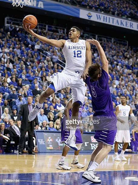 KarlAnthony Towns of the Kentucky Wildcats shoots the ball during the game against the Grand Canyon Antelopes at Rupp Arena on November 14 2014 in...