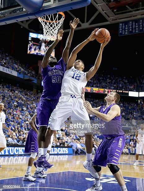 KarlAnthony Towns of the Kentucky Wildcats shoots the while defended Tobe Okafor of the Grand Canyon Antelopes at Rupp Arena on November 14 2014 in...