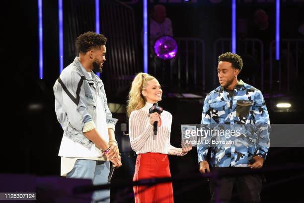 KarlAnthony Towns of the Minnesota Timberwolves Allie LaForce and Ludacris address the crowd before the 2019 Taco Bell Skills Challenge as part of...