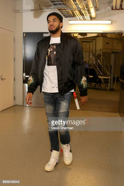 KarlAnthony Towns of the Minnesota Timberwolves arrives at the stadium before the game against the Sacramento Kings on December 14 2017 at Target...
