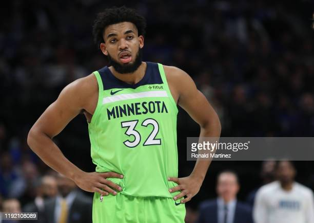 Karl-Anthony Towns of the Minnesota Timberwolves at American Airlines Center on December 04, 2019 in Dallas, Texas. NOTE TO USER: User expressly...