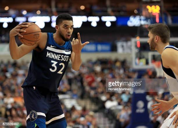 KarlAnthony Towns of the Minnesota Timberwolves at American Airlines Center on November 17 2017 in Dallas Texas NOTE TO USER User expressly...