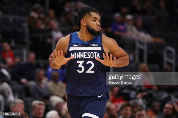 Karl-Anthony Towns of the Minnesota Timberwolves celebrates a second half three point basket against the Detroit Pistons at Little Caesars Arena on...