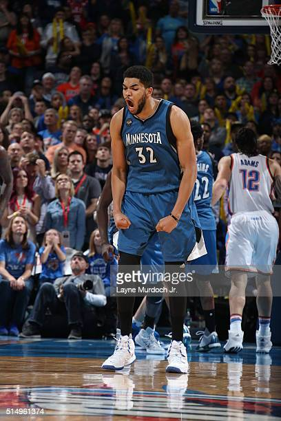 KarlAnthony Towns of the Minnesota Timberwolves celebrates against the Oklahoma City Thunder on March 10 2016 at the Chesapeake Energy Arena in...