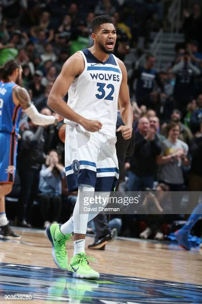 KarlAnthony Towns of the Minnesota Timberwolves celebrates during the game against the Oklahoma City Thunder on January 10 2018 at Target Center in...