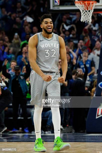 KarlAnthony Towns of the Minnesota Timberwolves celebrates in the final minute during overtime of the game against the Denver Nuggets on April 11...