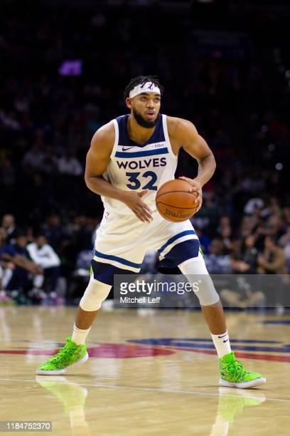 Karl-Anthony Towns of the Minnesota Timberwolves controls the ball against the Philadelphia 76ers at the Wells Fargo Center on October 30, 2019 in...