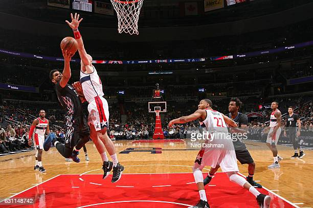 KarlAnthony Towns of the Minnesota Timberwolves drives to the basket during the game against the Washington Wizards on January 6 2017 at Verizon...