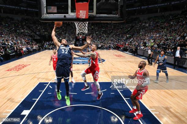 KarlAnthony Towns of the Minnesota Timberwolves drives to the basket against the Houston Rockets in Game Four of Round One of the 2018 NBA Playoffs...