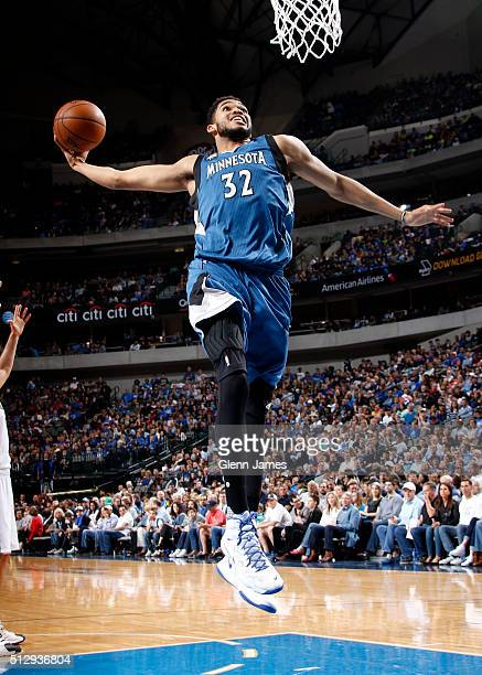 KarlAnthony Towns of the Minnesota Timberwolves dunks against the Dallas Mavericks on February 28 2016 at the American Airlines Center in Dallas...