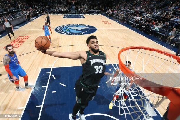 KarlAnthony Towns of the Minnesota Timberwolves dunks the ball against the Oklahoma City Thunder on March 15 2019 at Target Center in Minneapolis...