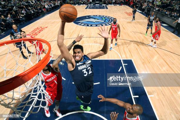 KarlAnthony Towns of the Minnesota Timberwolves dunks the ball against the Houston Rockets in Game Four of Round One of the 2018 NBA Playoffs on...