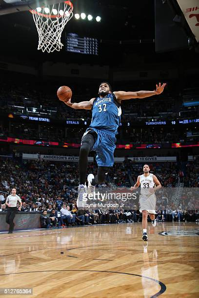 KarlAnthony Towns of the Minnesota Timberwolves goes up for a dunk against the New Orleans Pelicans on February 27 2016 at the Smoothie King Center...