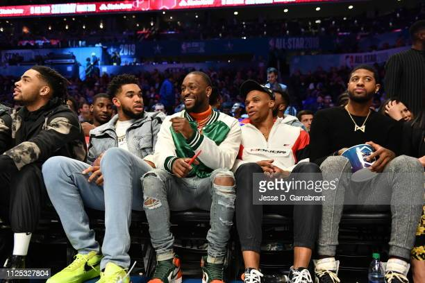 Karl-Anthony Towns of the Minnesota Timberwolves, Kemba Walker of the Charlotte Hornets, Russell Westbrook and Paul George of the Oklahoma City...
