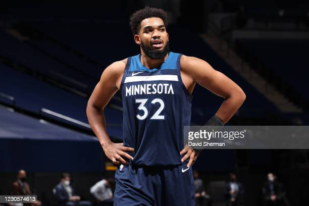 Karl-Anthony Towns of the Minnesota Timberwolves looks on during the game against the Memphis Grizzlies on January 13, 2021 at Target Center in...