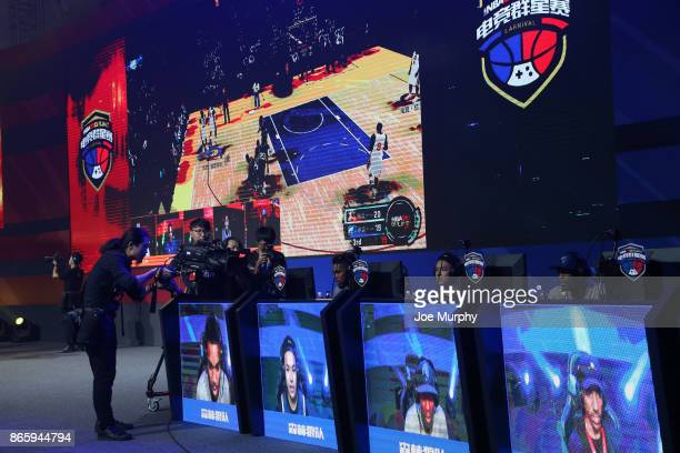 KarlAnthony Towns of the Minnesota Timberwolves participates during a NBA 2K ESports event on October 4 2017 at Sheraton Shenzhen in Shenzhen China...