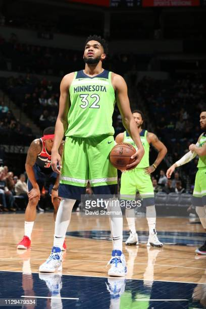 Karl-Anthony Towns of the Minnesota Timberwolves prepares to shoot a free throw during the game against the Washington Wizards on March 9, 2019 at...