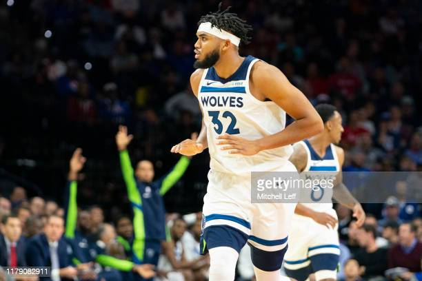 Karl-Anthony Towns of the Minnesota Timberwolves reacts after making a basket against the Philadelphia 76ers in the first quarter at the Wells Fargo...