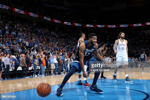 KarlAnthony Towns of the Minnesota Timberwolves reacts after winning the game against the Oklahoma City Thunder on October 22 2017 at Chesapeake...