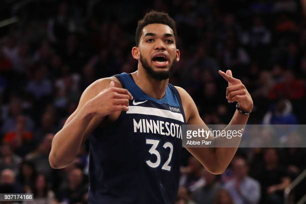 KarlAnthony Towns of the Minnesota Timberwolves reacts to a call in the second half against the New York Knicks during their game at Madison Square...