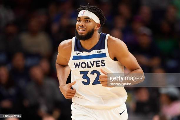 Karl-Anthony Towns of the Minnesota Timberwolves runs down the court against the Miami Heat during the home opener at Target Center on October 27,...
