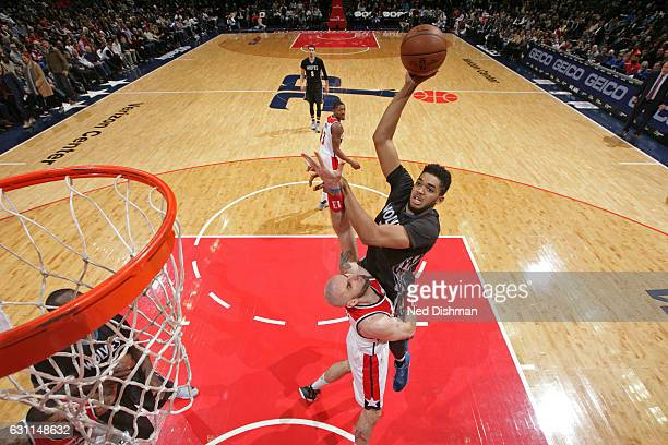 KarlAnthony Towns of the Minnesota Timberwolves shoots the ball during the game against the Washington Wizards on January 6 2017 at Verizon Center in...